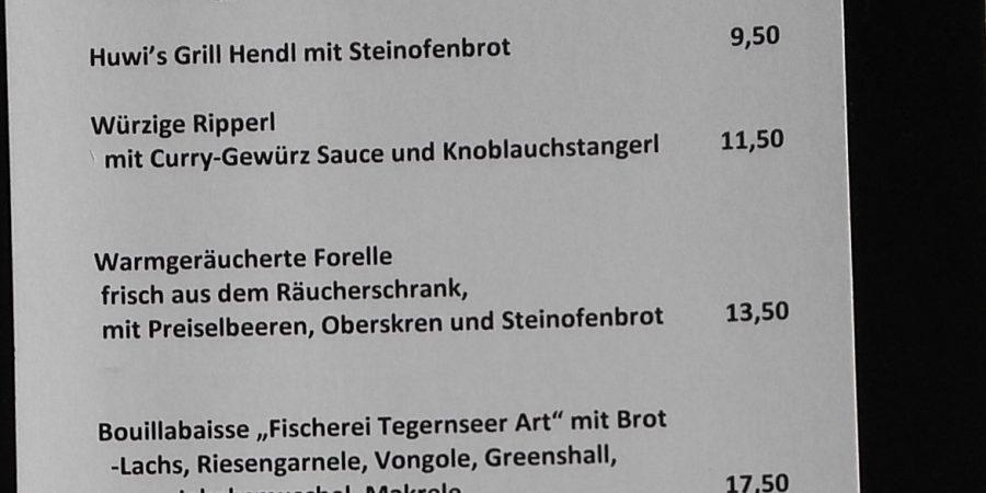 """Speisekarte der """"hendl fischerei"""" am Asitz, Leogang, Salzburger Land."""