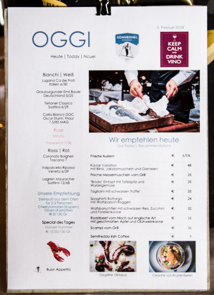 Speisekarte des Bergrestaurant Sonnbühel, Kitzbühel, älteste Skihütte der Welt. Foto: Hans-Werner Rodrian