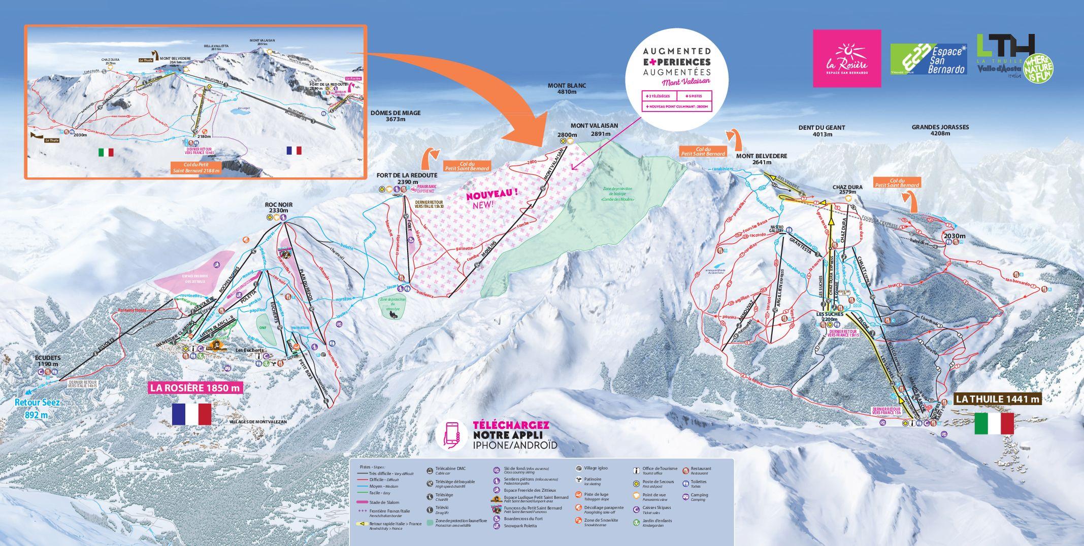 Pistenplan Skigebiet La Rosière in Frankreich, Neuerschließung des Mont Valasain. Rechte: La Rosiére